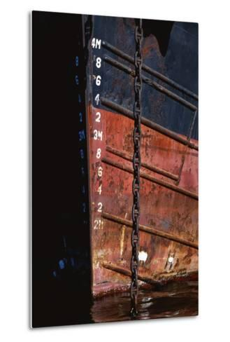 Tugboat Bow and Lowered Anchor Chain-Paul Souders-Metal Print