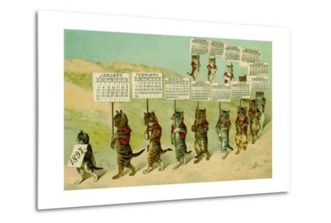 1897 Calendar with Parading Cats--Metal Print