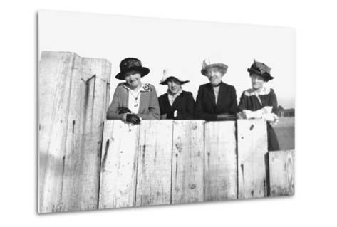 Four Adult Sisters Pose Along a Fence, Ca. 1910--Metal Print