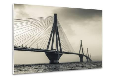 Greece, Peloponese Region, Gulf of Corinth, Patraa-Area, Rio Antirio Bridge-Walter Bibikow-Metal Print