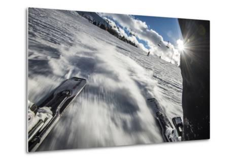A Skier in the Italian Dolomites Takes a Picture Looking Backwards Through His Legs-Alex Treadway-Metal Print