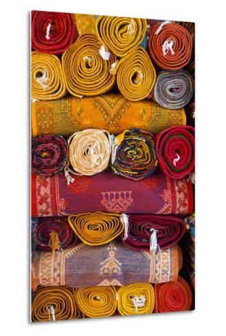 Morocco, Marrakech, Carpets in Market-Andrea Pavan-Metal Print