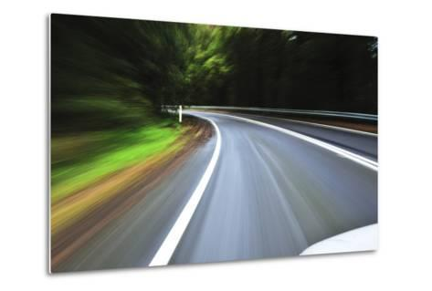 A View of a Bend in the Road from a Moving Vehicle-Keith Ladzinski-Metal Print
