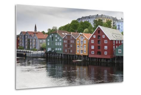 Colourful Wooden Warehouses on Wharf Beside the Nidelva River-Eleanor Scriven-Metal Print