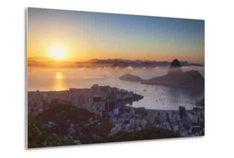View of Sugarloaf Mountain and Botafogo Bay at Dawn, Rio De Janeiro, Brazil, South America-Ian Trower-Metal Print