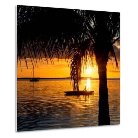 Sunset Landscape with Yacht and Floating Platform - Miami - Florida-Philippe Hugonnard-Metal Print