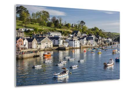 Early Morning Light on Small Boats at Anchor in the Harbour at Fowey, Cornwall, England-Michael Nolan-Metal Print