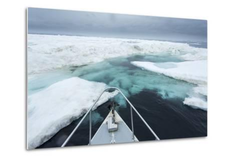 Expedition Boat and Sea Ice, Hudson Bay, Nunavut, Canada-Paul Souders-Metal Print