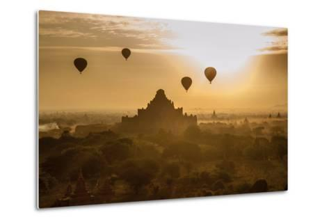 Balloons Above Stupas and Dhammayangyi Patho Temple from the Shwesandaw Pagoda-Tino Soriano-Metal Print