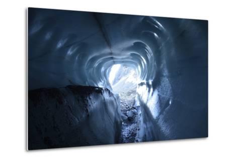 A Tunnel of Melt-Sculpted Blue Glacier Ice-Keith Ladzinski-Metal Print