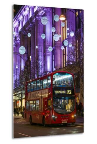 England, London, Soho, Oxford Street, Chirstmas Decorations and London Bus-Walter Bibikow-Metal Print