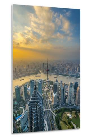 China, Shanghai, View over Pudong Financial District, Huangpu River Beyond-Alan Copson-Metal Print