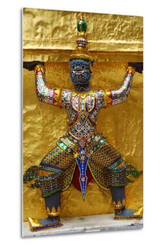 An Ornate Carving of a Mythological God Holding Up a Golden Wall-Darlyne A^ Murawski-Metal Print