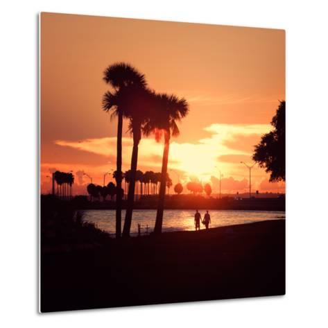 Romantic Walk along the Ocean at Sunset-Philippe Hugonnard-Metal Print