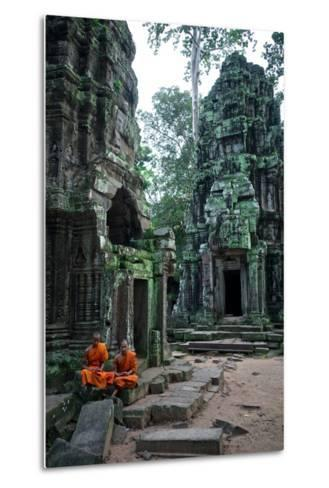 Theraveda Buddhist Monks at the Ta Prohm Temple in the Angkor Complex-Kike Calvo-Metal Print