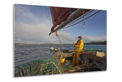 Sailing an Oyster Dredger, in Carrick Roads, the Estuary of the River Fal, Near Falmouth, Cornwall-Nigel Hicks-Metal Print