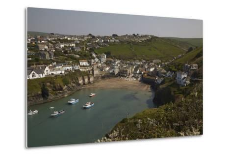 A View of the Harbor at Low Tide, at Port Isaac, Near Padstow, on the Atlantic Coast of Cornwall-Nigel Hicks-Metal Print