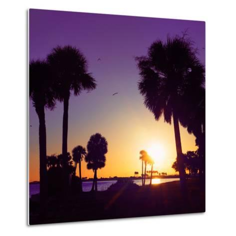 Silhouette Palm Trees at Sunset-Philippe Hugonnard-Metal Print