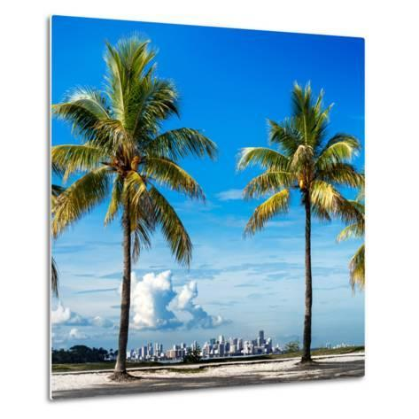 Palm Trees overlooking Downtown Miami - Florida-Philippe Hugonnard-Metal Print