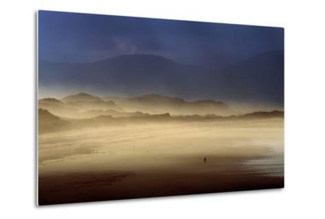 A Lone Walker on Inch Strand of Dingle Bay, County Kerry, Ireland-Chris Hill-Metal Print