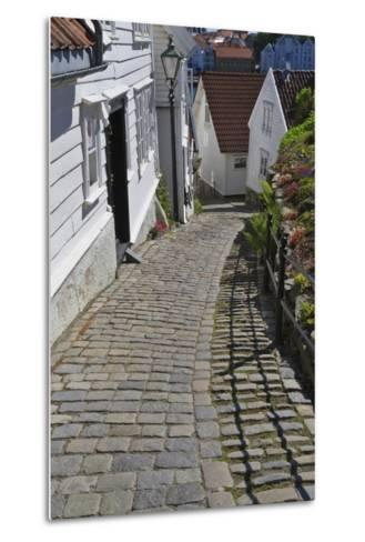 Steep Cobbled Street and White Wooden Houses-Eleanor Scriven-Metal Print