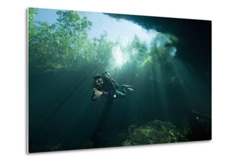A Cave Diver Explores the Cenote El Pit in Quintana Roo, Mexico-Cesare Naldi-Metal Print