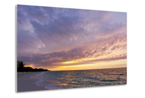 A Purple and Pink Sky at Sunset over Grace Bay and the Beach-Mike Theiss-Metal Print