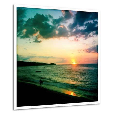 A Surfer Heading Home at Sunset on Shacks Beach Near Aquadilla, Puerto Rico-Skip Brown-Metal Print