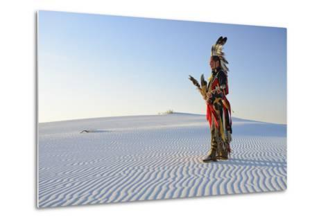 Native American in Full Regalia, White Sands National Monument, New Mexico, Usa Mr-Christian Heeb-Metal Print
