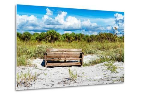 Wooden Bench overlooking a Florida wild Beach-Philippe Hugonnard-Metal Print