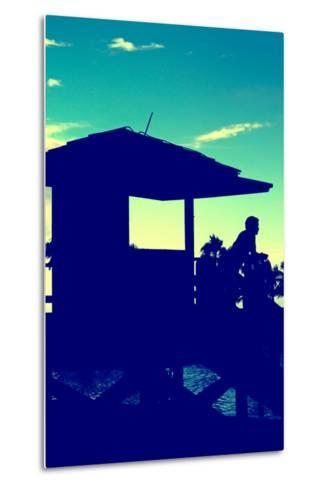 Silhouette of Life Guard Station at Sunset - Miami-Philippe Hugonnard-Metal Print