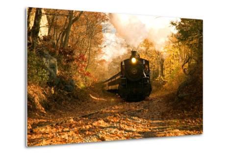 The Essex Steam Train Chugs Through the Autumn Forest-Brian Drouin-Metal Print