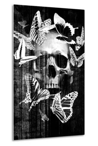 Skull Butterfly Crown--Metal Print