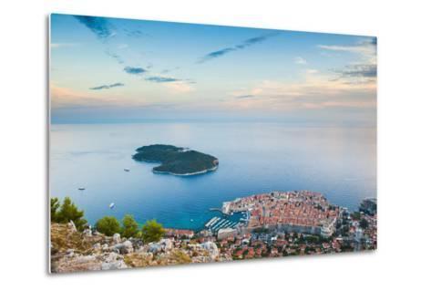 View over Dubrovnik, Lokum Island and Adriatic Sea, Dubrovnik, Dalmatian Coast, Croatia, Europe-Matthew Williams-Ellis-Metal Print