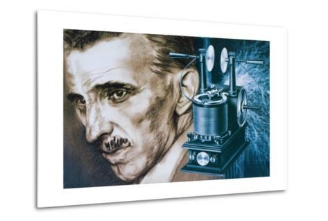 Nikola Tesla with an Early Tesla Coil--Metal Print