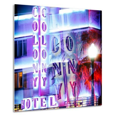 Instants of Series - Ocean Drive with the Colony Hotel by Night - Miami Beach - Florida - USA-Philippe Hugonnard-Metal Print