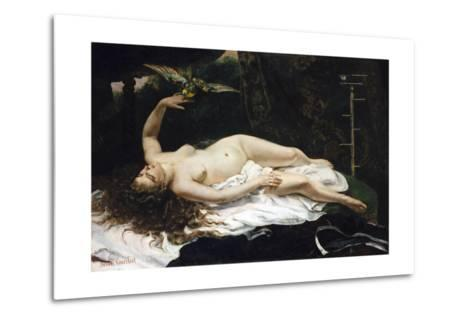Woman with a Parrot-Gustave Courbet-Metal Print