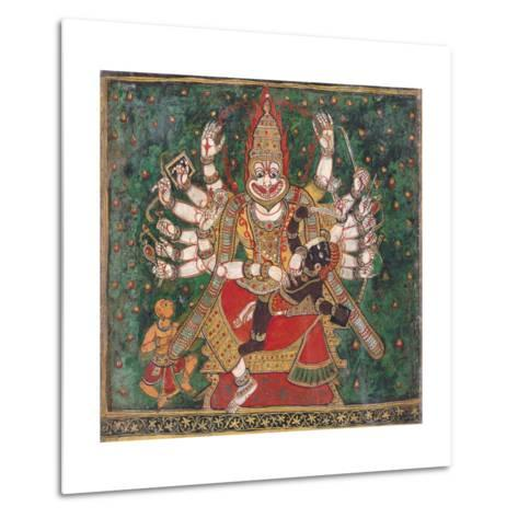 Narasimha Killing Hiranyakashipu, as Prahlada Watches--Metal Print