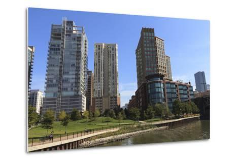 Expensive Apartment Buildings on the Chicago River-Amanda Hall-Metal Print
