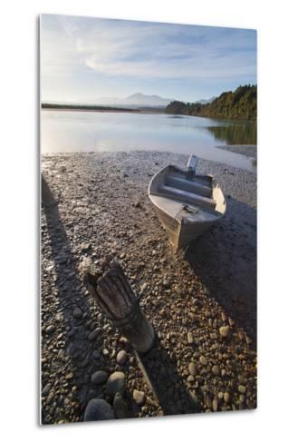 Motor Boat at Sunrise, Okarito Lagoon, West Coast, South Island, New Zealand, Pacific-Matthew Williams-Ellis-Metal Print