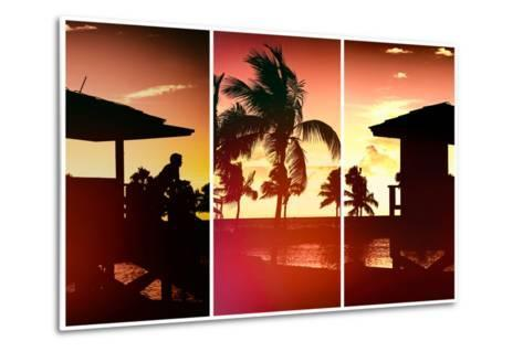 Triptych Collection - Silhouette of Life Guard Station at Sunset - Miami-Philippe Hugonnard-Metal Print