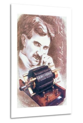 Nikola Tesla with Machine--Metal Print
