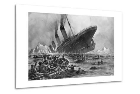 Sinking of the Titanic-Willy Stoewer-Metal Print