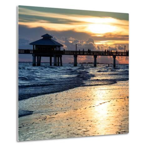 Fishing Pier Fort Myers Beach at Sunset-Philippe Hugonnard-Metal Print