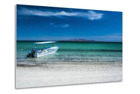 Boat on Playa Tecolote with Isla Espiritu Santo in the Background-Michael Runkel-Metal Print