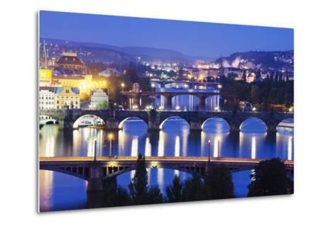Bridges on the Vltava River, UNESCO World Heritage Site, Prague, Czech Republic, Europe-Christian Kober-Metal Print