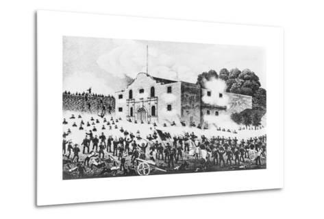 Lithograph of the Siege of the Alamo--Metal Print