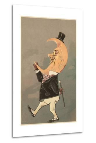 Postcard of the Cresent Moon as the Face of a Man--Metal Print