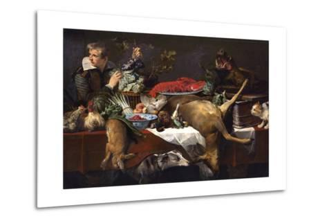 Pantry Scene with Servant-Frans Snyders-Metal Print