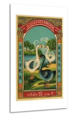 Thai Cotton Label with Geese--Metal Print